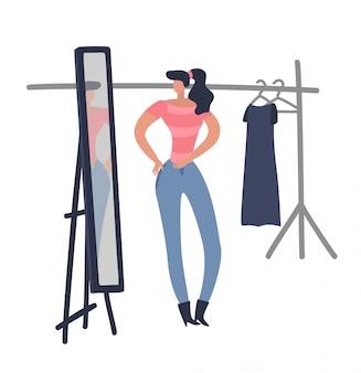 Le donne lo shopping. la ragazza sta provando sul panno femminile di modo che guarda il vestito da nuova progettazione della donna nell'illustrazione piana della stanza del boutique del negozio