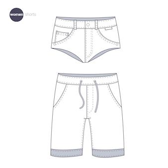 Pantaloncini da donna. stile di linea sottile di vestiti.