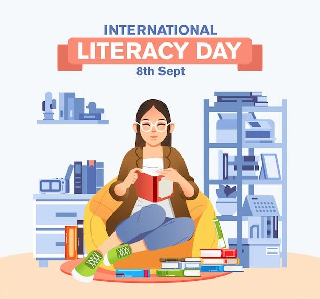 Le donne si siedono sul sacchetto di fagioli mentre leggono un libro in soggiorno con libri in giro per il poster della campagna della giornata internazionale dell'alfabetizzazione