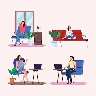 Donne sedute facendo attività da casa design del tema del telelavoro e delle attività.