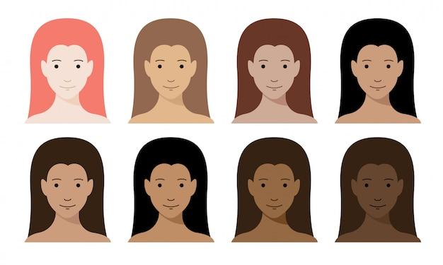 Set di colori per la pelle delle donne. personaggi femminili