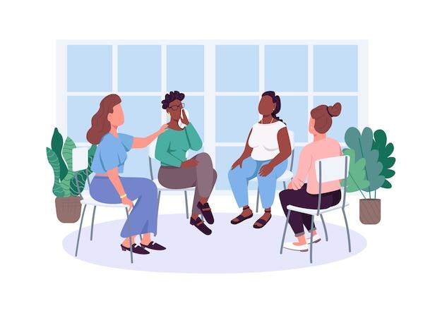 Personaggi senza volto di colore piatto del gruppo di sostegno sociale delle donne. incontro di terapia per problemi femminili. illustrazione del fumetto isolata assistenza sanitaria mentale