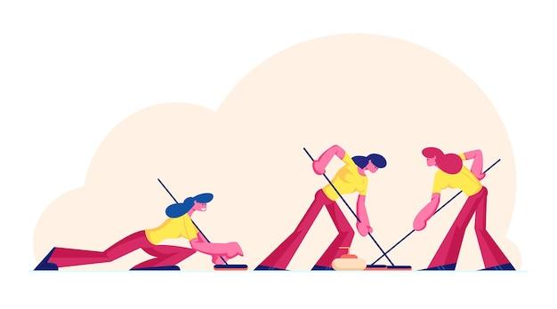 Squadra sportiva femminile che gioca a curling gioco che spazza ghiaccio con spazzole speciali. cartoon illustrazione piatta
