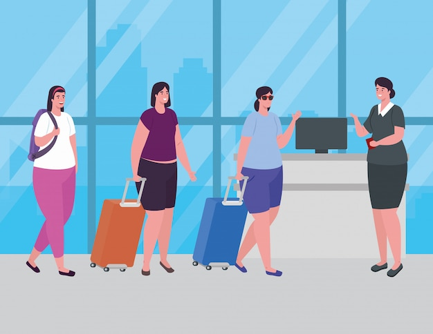 Donne in piedi per il check-in, al fine di registrarsi per il volo, gruppo femminile con bagagli in attesa della partenza dell'aereo al disegno dell'illustrazione di vettore dell'aeroporto