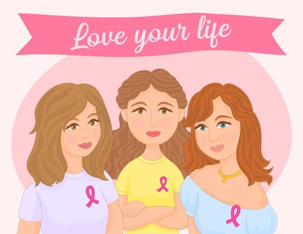 Donne che sostengono la lotta contro il cancro isolato su bianco