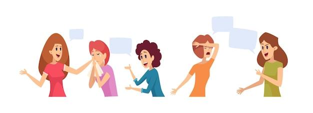 Donne che parlano. gruppo di terapia della ragazza, femmina triste felice. illustrazione di vettore di comunicazione e conversazione di persone. ragazza di terapia che parla e comunica, discussione psicologica depressa