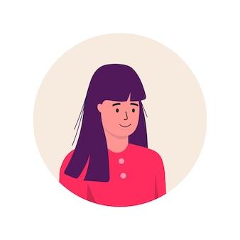Carattere dell'avatar dell'icona alla moda delle donne. illustrazione piana di vettore della gente allegra e felice. cornice rotonda. ritratti femminili, gruppo, squadra. adorabile ragazza isolata su sfondo bianco