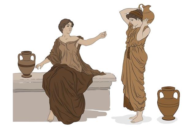 Donne in tunica con brocche di argilla parlano tra loro