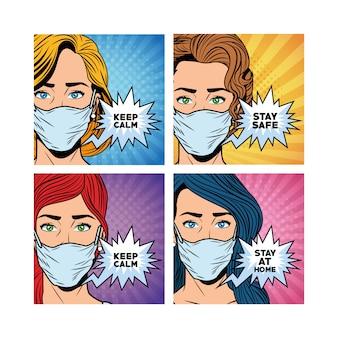 Donne che usano maschere per i messaggi di covid19