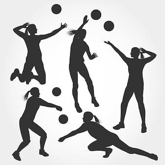 Collezione silhouette donna giocatore di pallavolo