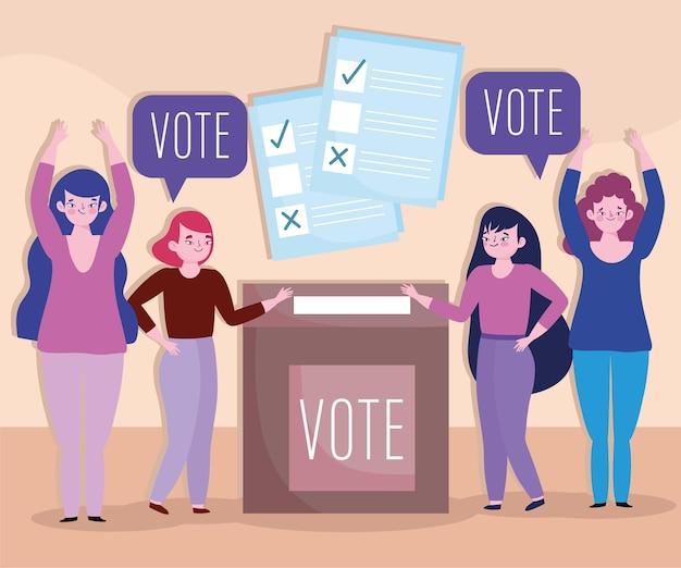 Elettori di donne con segno di spunta elettorale e illustrazione della casella
