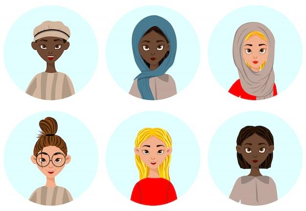 Donne con diverse espressioni facciali ed emozioni. stile cartone animato. illustrazione vettoriale