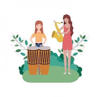 Donne con strumenti musicali e paesaggio