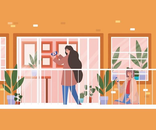 Donne con lo smartphone al balcone della finestra dell'illustrazione arancio di tema della costruzione, di architettura e della quarantena