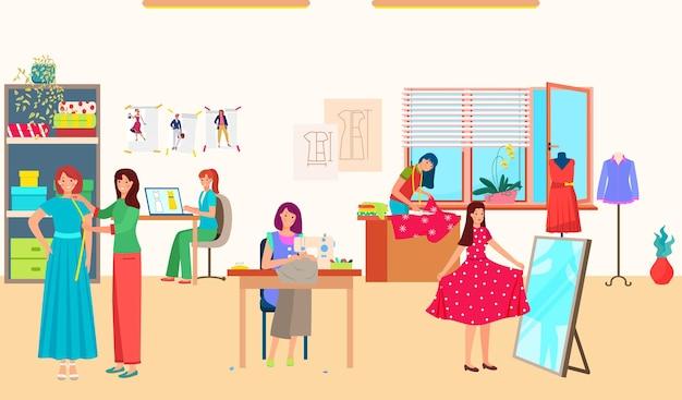 Le donne lavorano in studio di moda di cucito Vettore Premium