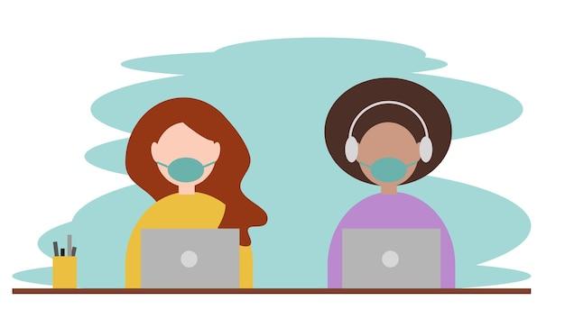 Donne che lavorano su un laptop con maschera chirurgica per prevenire l'infezione virale vettore