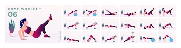 Set di allenamento per donne donne che fanno esercizi di fitness e yoga