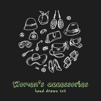 Insieme di doodle disegnato a mano di accessori da donna