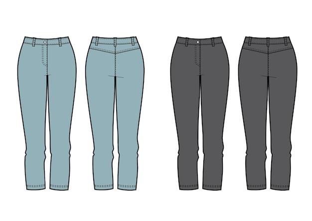 Set di abbigliamento donna di jeans modello vettoriale
