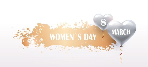 Volantino o cartolina d'auguri dell'insegna di celebrazione di festa del giorno 8 marzo della donna con l'illustrazione orizzontale dei palloni di aria