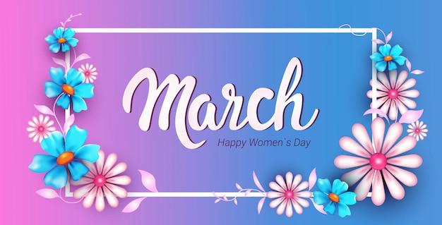 Volantino o cartolina d'auguri dell'insegna di celebrazione di festa del giorno 8 marzo della donna con l'illustrazione orizzontale dei bei fiori