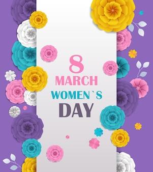 Aletta di filatoio o cartolina d'auguri dell'insegna di celebrazione di festa della festa della donna 8 marzo con i fiori di carta decorativi 3d che rendono l'illustrazione verticale Vettore Premium