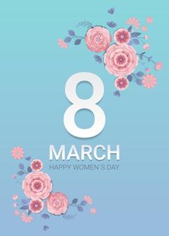 Aletta di filatoio o cartolina d'auguri dell'insegna di celebrazione di festa della festa della donna 8 marzo con i fiori di carta decorativi 3d che rendono l'illustrazione verticale