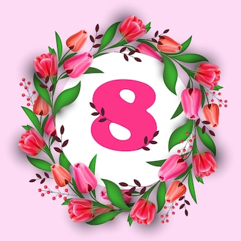 Volantino o cartolina d'auguri dell'insegna di celebrazione di festa della festa della donna 8 marzo con fiori e illustrazione di otto numeri