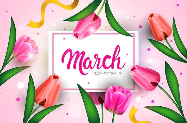 Volantino o cartolina d'auguri dell'insegna di celebrazione di festa della festa della donna 8 marzo con l'illustrazione orizzontale dei fiori