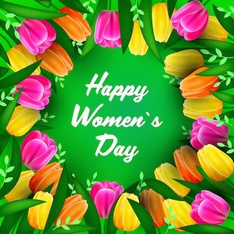 Volantino o cartolina d'auguri dell'insegna di celebrazione di festa del giorno 8 marzo delle donne con l'illustrazione dei fiori