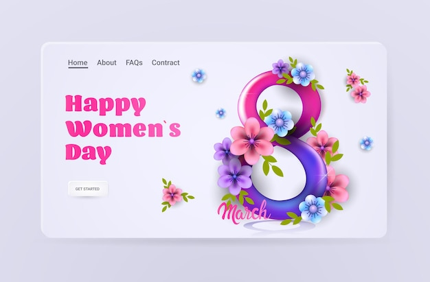 Volantino o cartolina d'auguri dell'insegna di celebrazione di festa della festa della donna dell'8 marzo con i fiori nell'illustrazione orizzontale di forma numero otto
