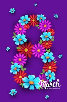 Aletta di filatoio o cartolina d'auguri dell'insegna di celebrazione di festa della festa della donna il giorno 8 marzo con i fiori nell'illustrazione verticale di figura di numero otto
