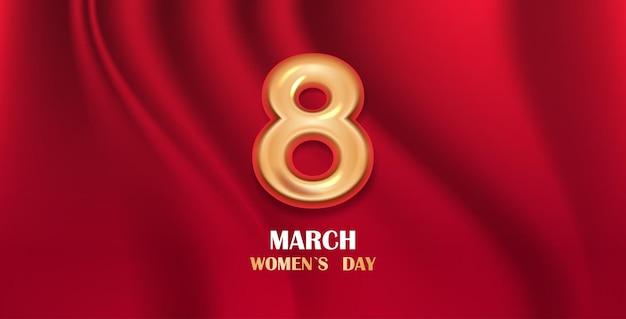 Volantino o cartolina d'auguri dell'insegna della celebrazione di festa della festa della donna 8 marzo con l'illustrazione orizzontale numero otto dorato