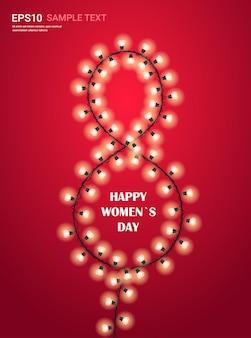 Volantino o biglietto di auguri banner celebrazione festa festa della donna 8 marzo con lampadine incandescente ghirlande illustrazione verticale