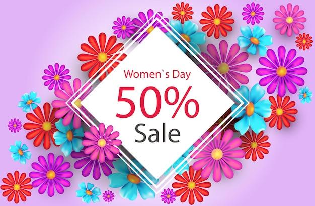 Manifesto o volantino della cartolina d'auguri di concetto di celebrazione di festa del giorno delle donne 8 marzo con l'illustrazione orizzontale dei fiori