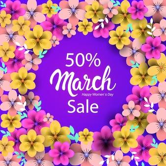 Manifesto o volantino della cartolina d'auguri di concetto di celebrazione di festa del giorno delle donne 8 marzo con illustrazione dei fiori