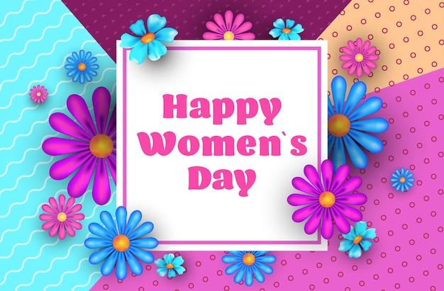 Womens giorno 8 marzo vacanza celebrazione concetto lettering biglietto di auguri poster o flyer con fiori illustrazione orizzontale