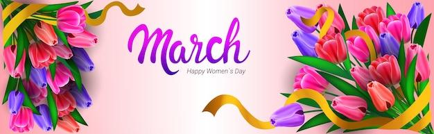 Volantino o cartolina d'auguri dell'insegna dell'iscrizione di celebrazione di festa della festa della donna il giorno 8 marzo con l'illustrazione orizzontale dei mazzi di fiori