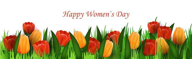 Volantino o cartolina d'auguri dell'insegna dell'iscrizione della celebrazione di festa del giorno della donna 8 marzo con l'illustrazione orizzontale dei fiori