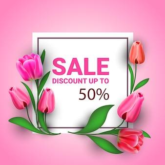 Volantino o cartolina d'auguri dell'insegna di vendita di celebrazione di festa del giorno delle donne 8 marzo con l'illustrazione dei fiori