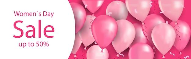 Manifesto o volantino della cartolina d'auguri di concetto di vendita di acquisto di celebrazione di festa della festa della donna giorno 8 marzo con l'illustrazione orizzontale dei palloni di aria
