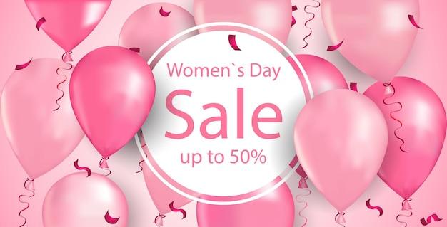 Volantino o biglietto di auguri banner sconto speciale di vendita dello shopping di festa della donna 8 marzo con l'illustrazione orizzontale dei palloni di aria