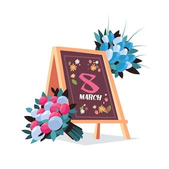 Womens giorno 8 marzo messaggio scritto a bordo con fiori vacanza celebrazione concetto banner flyer o biglietto di auguri illustrazione