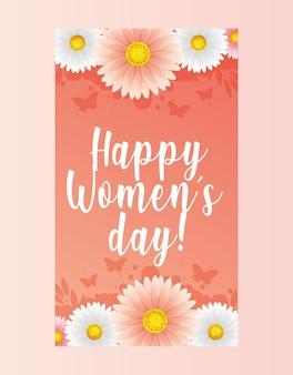 Carta di giorno delle donne con fiori e farfalle. illustrazione