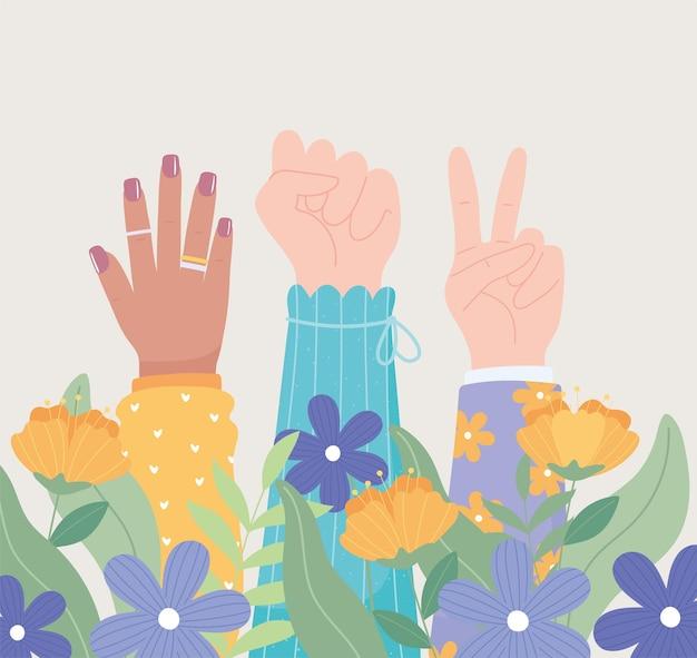 Festa della donna, diverse mani in alto femmina, potere della ragazza, illustrazione vettoriale di decorazione di fiori