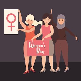 Festa della donna, gruppo femminile cultura diversa tenendo il cartello con illustrazione di messaggi