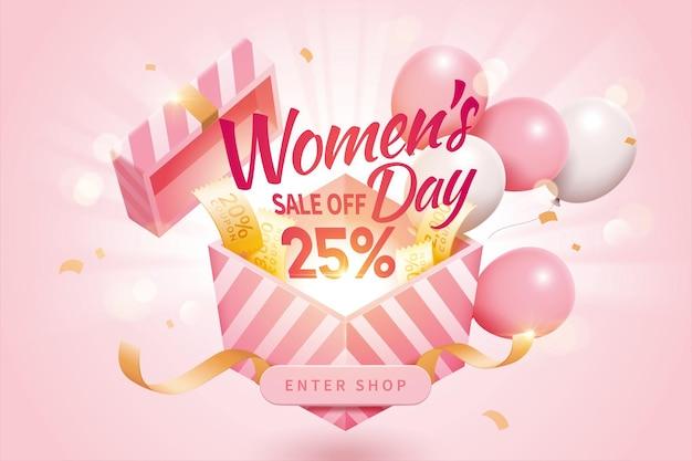 Annunci pop-up di vendita della festa della donna decorati da simpatici palloncini e coupon aggiuntivi
