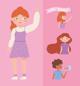 Festa della donna, cartone animato ritratto di gruppo femminile forte, illustrazione di potere della ragazza