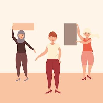 Festa della donna, tre donne con cartelli illustrazione degli attivisti del femminismo