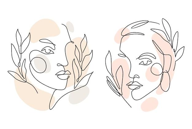 Womens affronta una linea d'arte con foglie. stile continuo